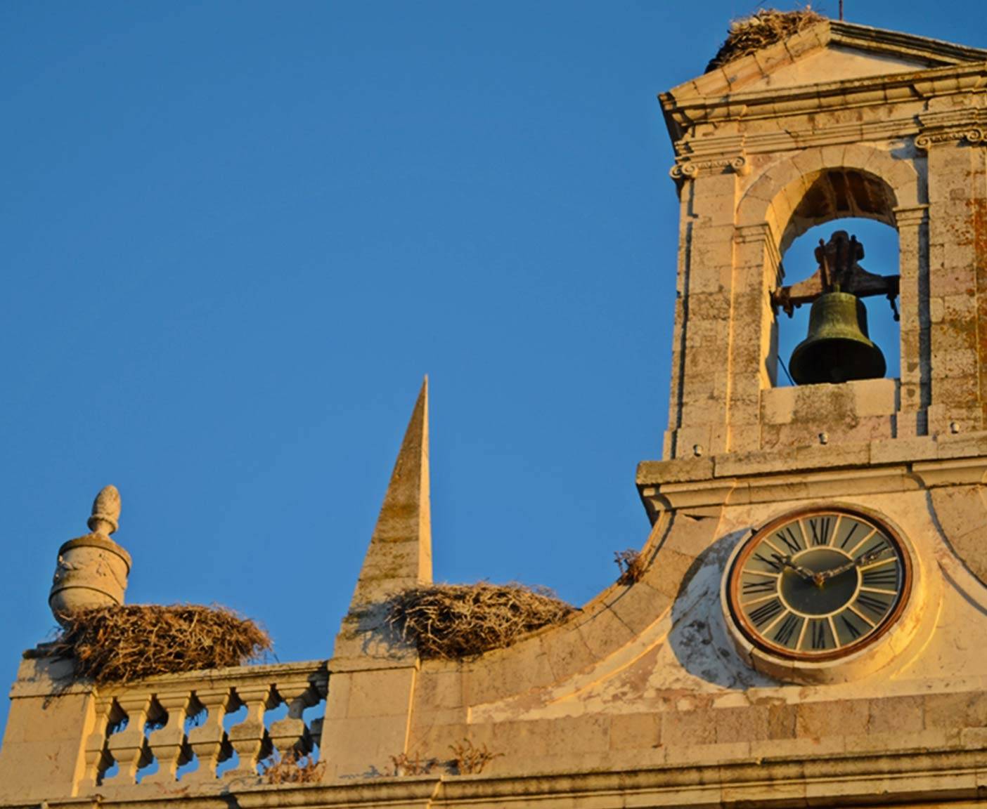 orange Kirche und Vogelnester in Faro Algarve Reisefotografie Paulcamper