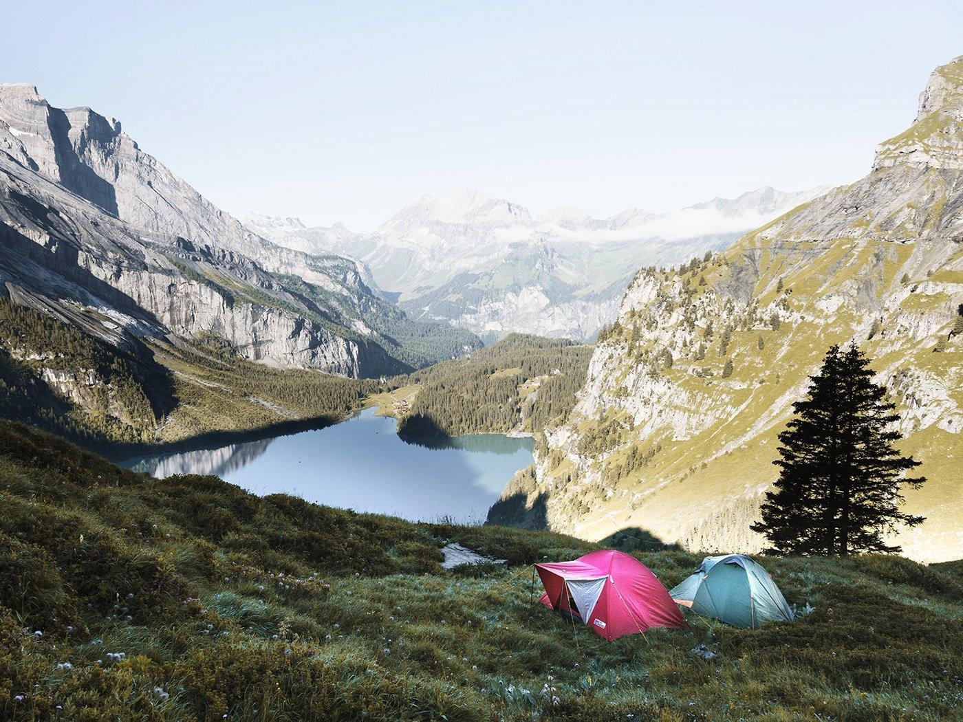 Wildcamping in Europa Berge mit Zelt