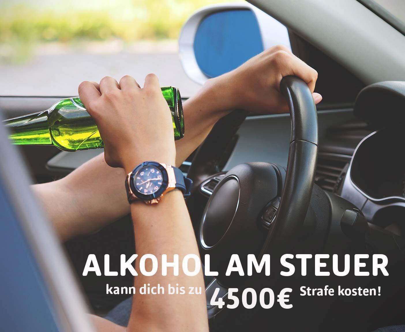 Bierflasche, Alkohol, Lenkrad, Auto, Armbanduhr, Person trinkt Alkohol am Steuer, Camping in Frankreich, Bußgelder, PaulCamper