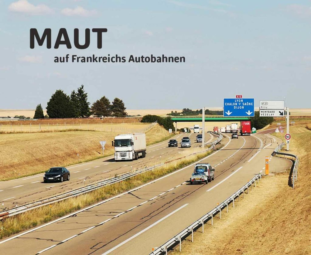 Autobahn mit Autos und LKWs, Weizenfeld, Straßenschild