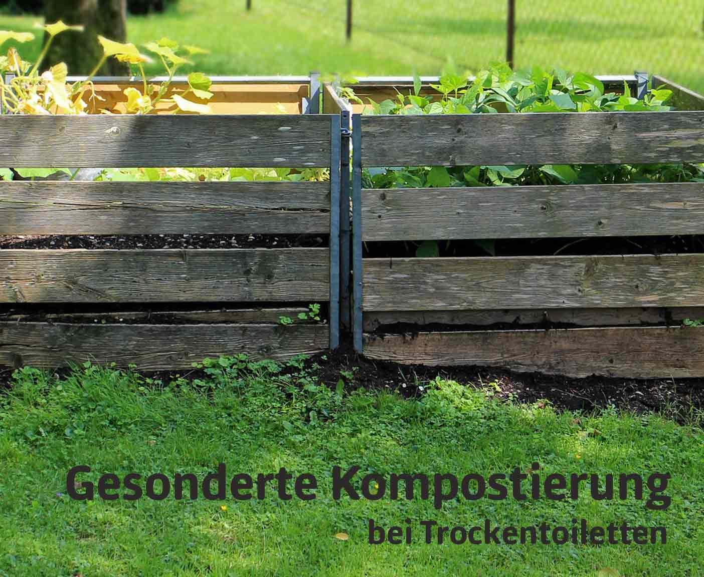 Kompost im Garten aus Holz, Campingtoilette PaulCamper