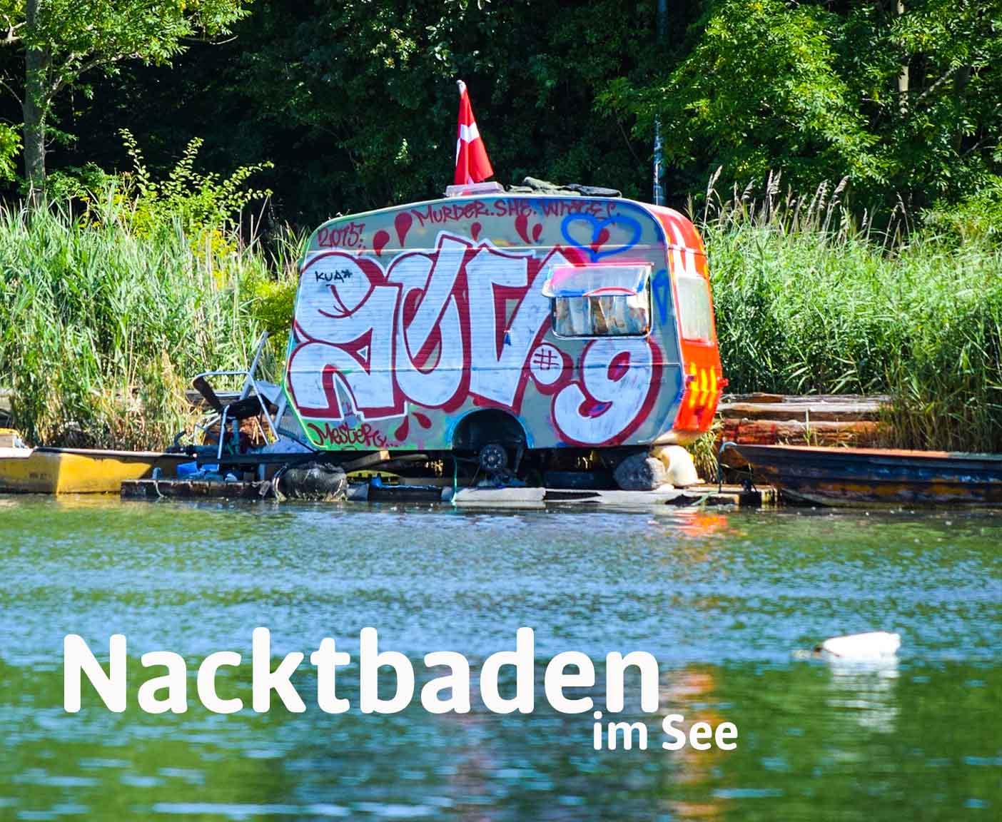 FKK-Camping geschädigter Wohnwagen mit Graffiti steht an einem See, Dänemarkflagge, hohe Wiese, Wald,  PaulCamper