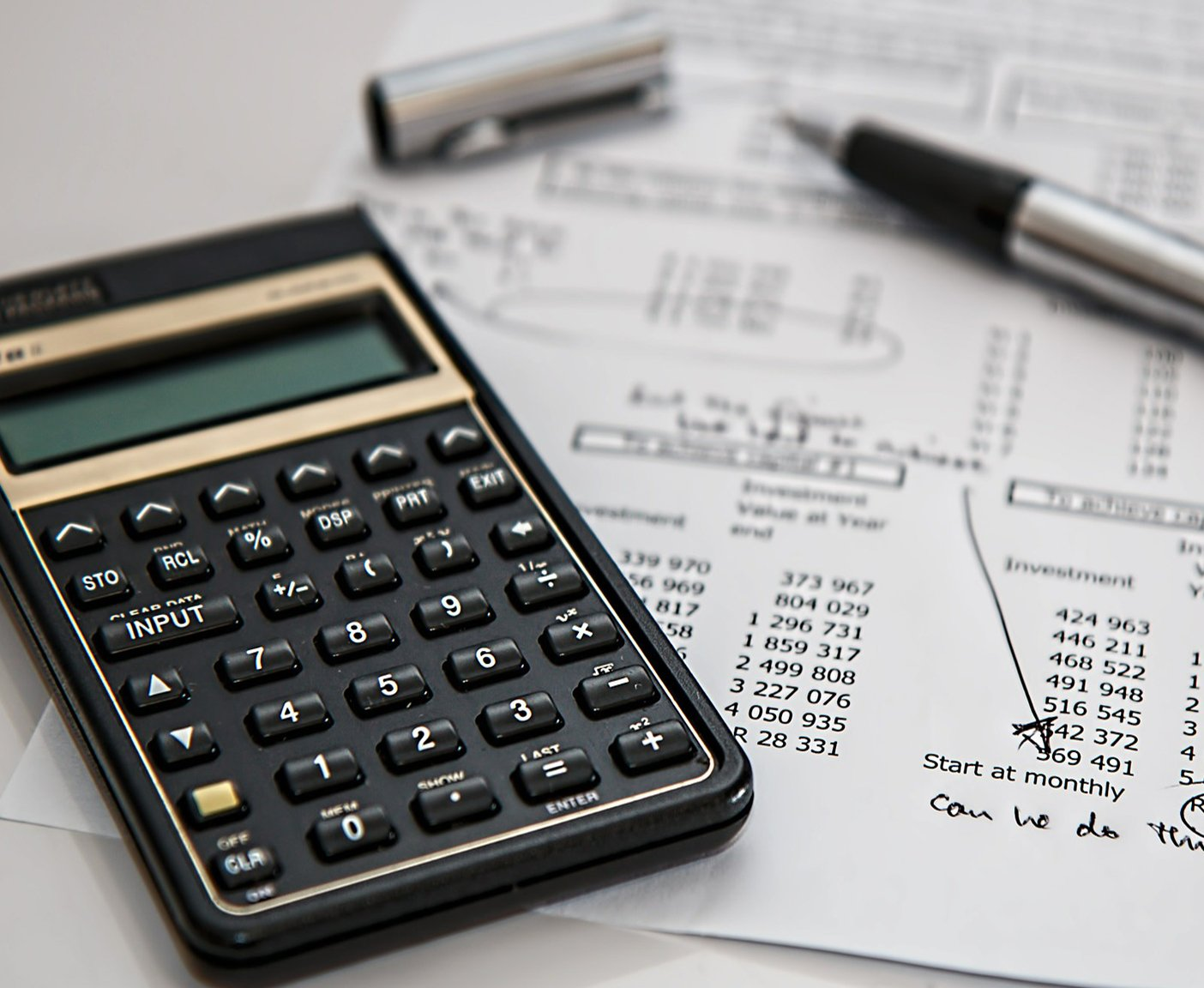 Taschenrechner, Buchhaltung, Kugelschreiber
