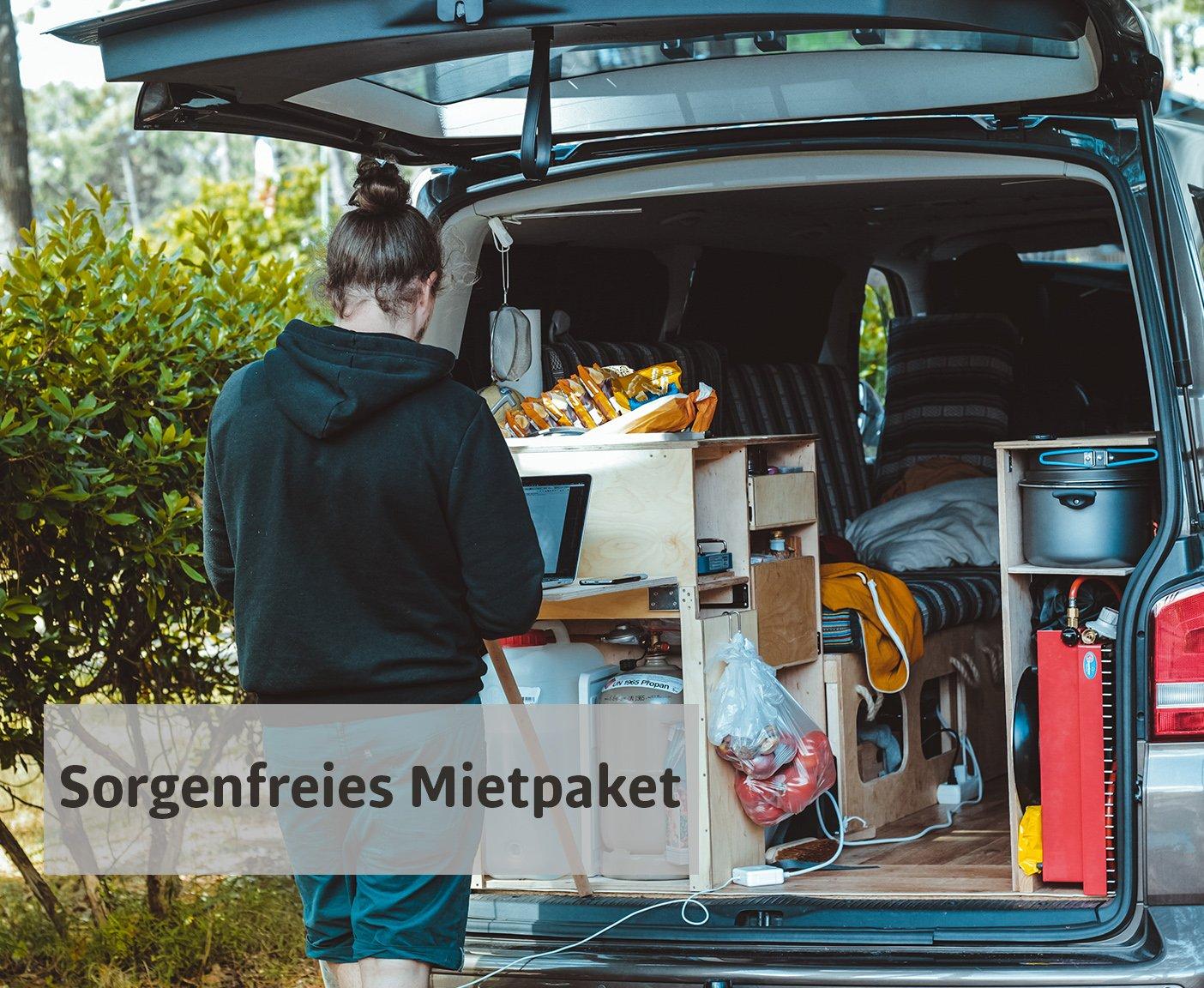 VW Bus mieten Camper mit Utensilien