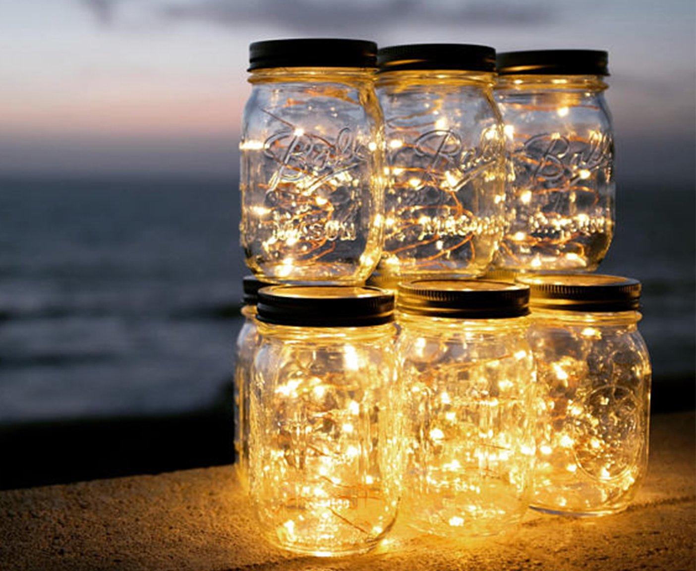 Wohnwagen renovieren Lichterkette im Mason Jar Glas