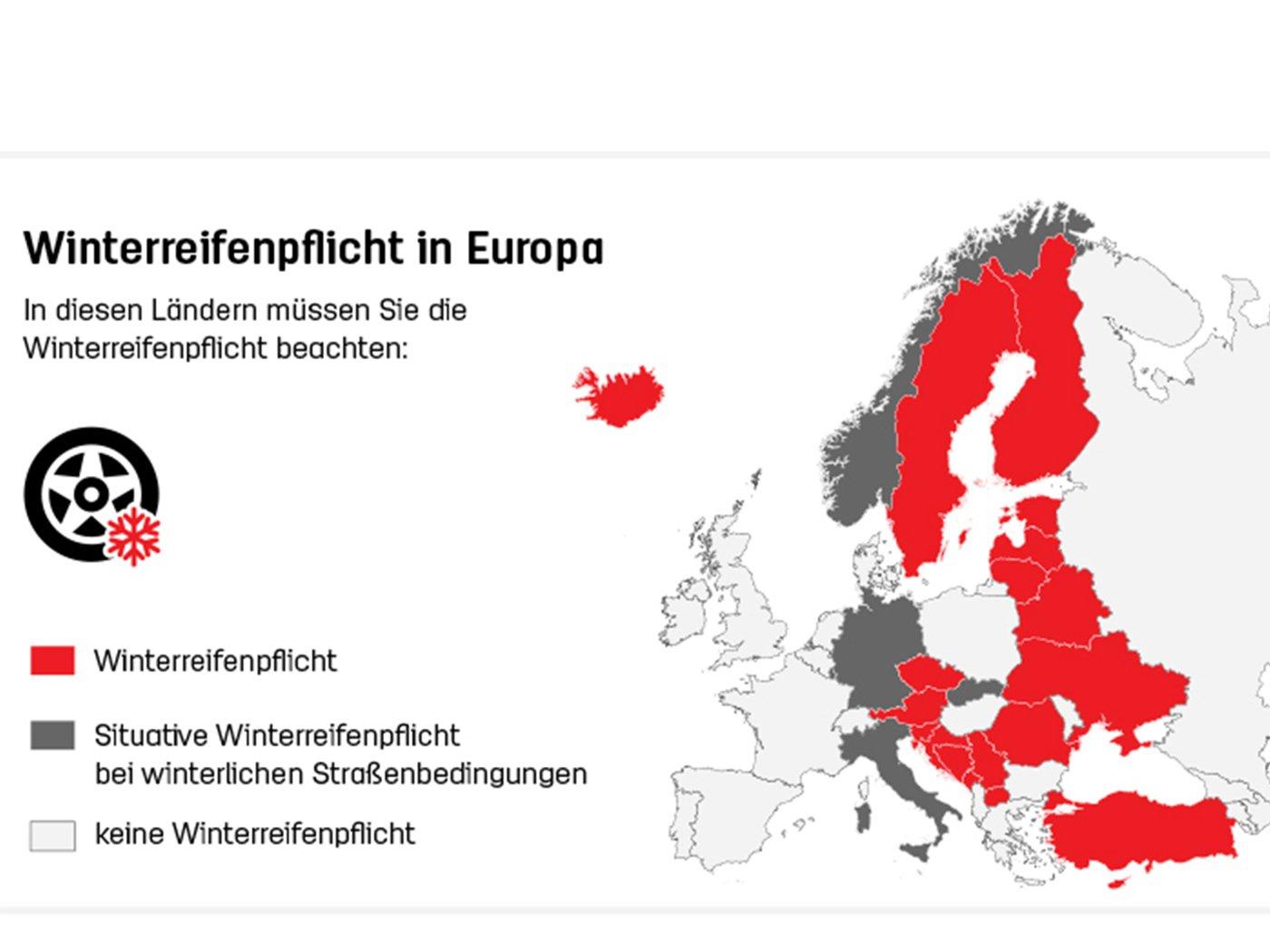 Winterreifenpflicht Karte Europa